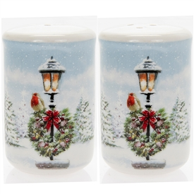 Christmas Robin On Lamp Post Salt And Pepper Set 7cm