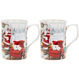 Set Of 2 Christmas Santa Mugs 11cm