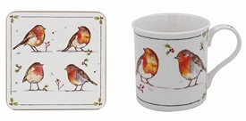 Winter Robin Mug And Coaster Set 12cm