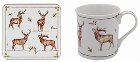 Winter Stag Mug And Coaster Set 12cm
