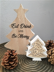 Eat Drink Be Merry Standing Double Tree Plaque 20cm