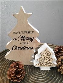 Merry Little Christmas Standing Double Tree Plaque 20cm