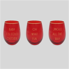 Red And Gold Stemless Wine Glass 3 Assorted 12cm