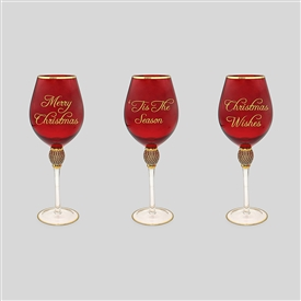 Red And Gold Wine Glass 3 Assorted 25cm