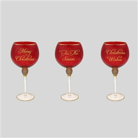Red And Gold Stemmed Gin Glass 3 Assorted 24cm