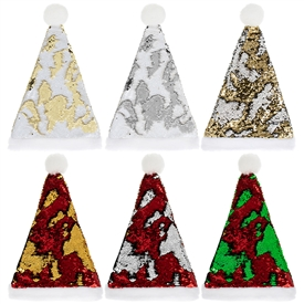 Sequin Santa Hat 6 Assorted 46cm