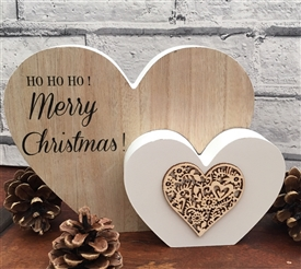 Merry Christmas Double Heart Mantle Plaque 22cm