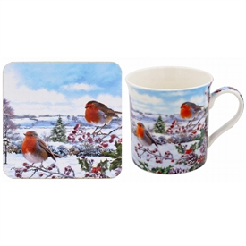 Christmas Robins Mug And Coaster Set