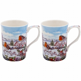 Christmas Robins Set Of 2 Mugs