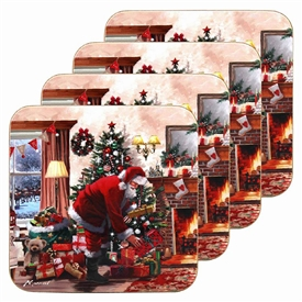 Santa With Presents Set Of 4 Coasters 11cm