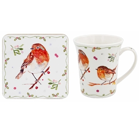 Winter Robin Mug And Coaster