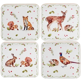 Winter Forest Critters Set Of 4 Coasters