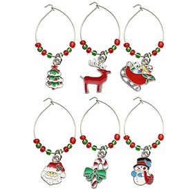 Set Of 6 Festive Wine Rings