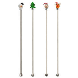 Set Of 4 Christmas Stirrers