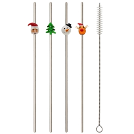 Set Of 4 Christmas Straws