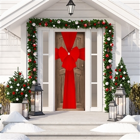 Christmas Decorative Door Bow � Red