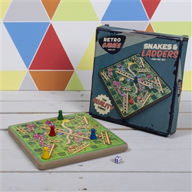 Retro Wooden Snakes and Ladders Game