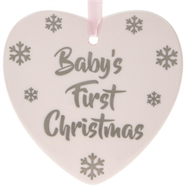 First Christmas Pink Heart Plaque