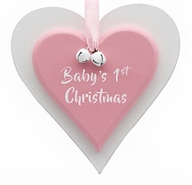 First Christmas Pink Double Heart Plaque