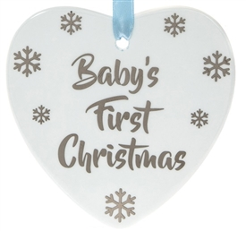 First Christmas Blue Heart Plaque