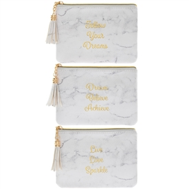 White Marble Purse 3 Assorted