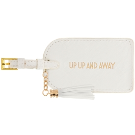 Faux White Leather Up Up And Away Luggage Tag