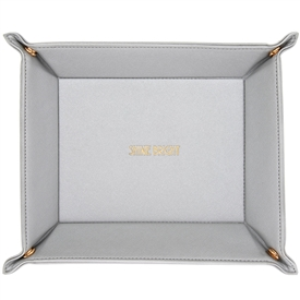 Faux Leather Ladies Grey Trinket Tray