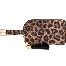 Faux Leather Leopard Animal Print Luggage Tag With Tassel