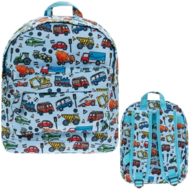 Blue Back Pack with a Vehicle Design