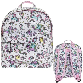 White and Pink Backpack with Unicorn Design