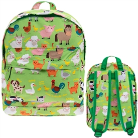 Green Back Pack with a Farmyard Design