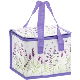 White and Purple Lunch Bag with Lavender Design