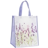 White and Purple Shopping Bag with Lavender Design