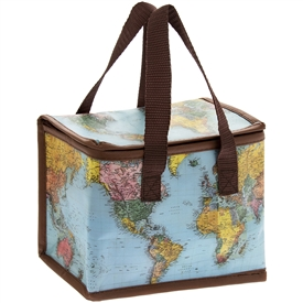 Blue and Brown Lunch Bag with a World Traveller Design