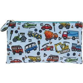 Blue Pencil Case with a Vehicle Design