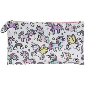 White and Pink Pencil Case with Unicorn Design