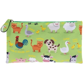 Green Pencil Case with a Farmyard Design
