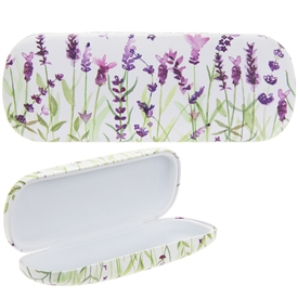 White and Green Glasses Case with a Lavender Design