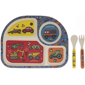 Bamboo Multicoloured Eating Set with a Vehicles Design
