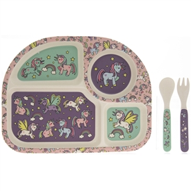 Bamboo Multicoloured Eating Set with a Unicorns Design