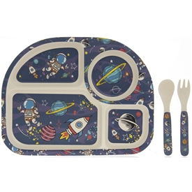 Bamboo Multicoloured Eating Set with a Space Design