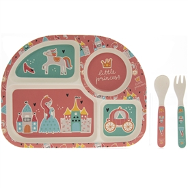 Bamboo Multicoloured Eating Set with a Fairytale Design