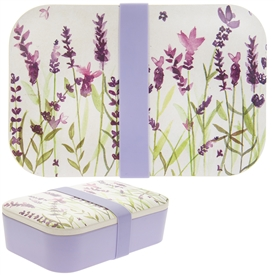 White and Purple Bamboo Lunch Box with a Lavender Design