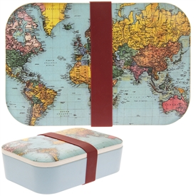 Blue Bamboo Lunch Box with a World Traveller Design