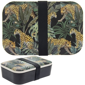 Green and Black Bamboo Lunch Box with a Jungle Fever Design