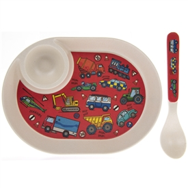 Vehicles Egg Plate And Spoon