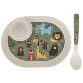 Jungle Egg Plate And Spoon