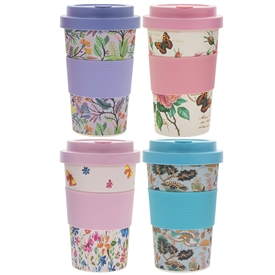 Floral Bamboo Travel Mug 4 Assorted