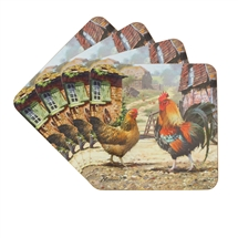 Cockerel & Hen Coasters Set Of 4