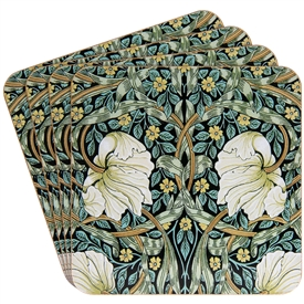 Set of 4 Cork Pimpernel Coasters With Foliage Design